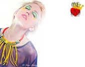 Explosion - Statement necklace,yellow,summer jewelry,big necklace,fringe,rope,one of a kind.