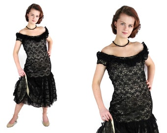 50s Sommers Herbert Dress,  Pin Up, Party, Lace Black, Vintage Wedding
