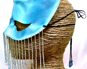 Leather Blue Moon Lunar Goddess Art Mask with Beaded Veil,  Handcrafted Crescent Halfmask (M70)