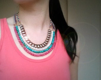 Multi Strand Beaded Bib Necklace, Statement necklace, Turquoise beads, Colored jade beads, Antique gold-plated brass chain