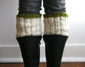 The Chunky Boot Cuff, Made with Fair Trade Wool / Ivory & Citrus Olive Green Stripe / Boot Toppers / Plus size, Petite / Neutral Leg Warmer