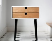 White nightstand / Bedside Table,  Scandinavian Mid-Century Modern Retro Style with 1 or 2 drawers and legs made of oak wood