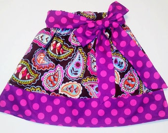 SAMPLE SALE  Paisley Print Girl's Skirt with Detachable Sash