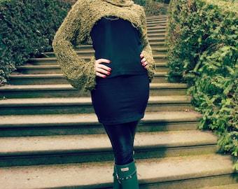 cropped sweater - long sleeve shrug - turtleneck sweater - grunge jumper