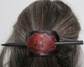 Leather Hair Barrette with stick, individually hand tooled and dyed by Kaia of West Virginia -- Free shipping!