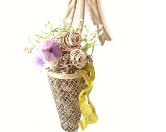 Brass Tussie Mussie Vase. French SHaBbY CoTTage Chic. Victorian Style Cone Sconce w Ribbon Finial. Rustic Spring Birdnest