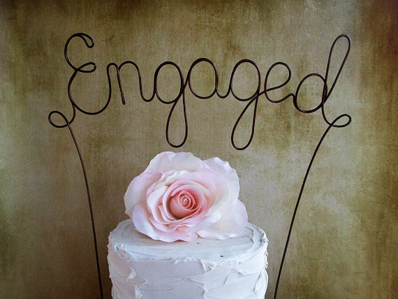 Cake Decorations For Engagement Cake : ENGAGED Wedding Cake Topper Engagement Party Cake Topper