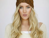 Leopard Printed Turban Headband Women's Wide Turband Style Mesh Head Wrap with Cinched Center, and Edges for Women and Teens (HB-102)