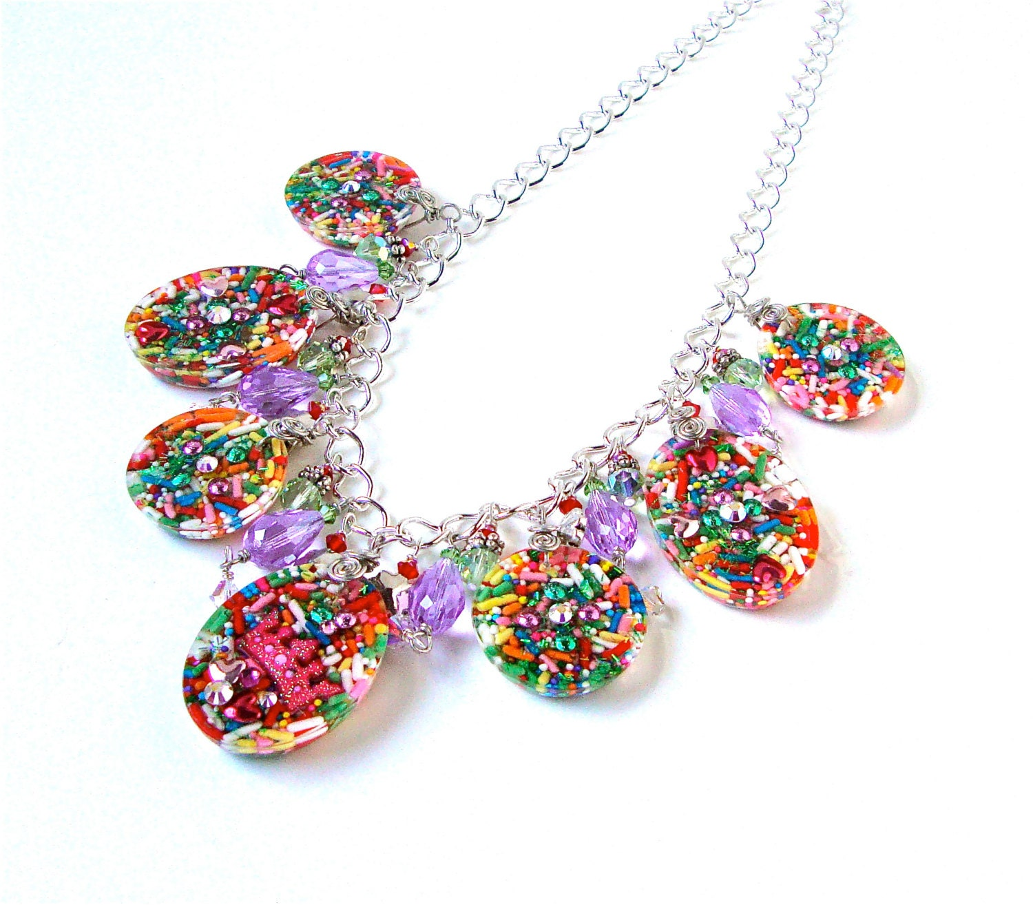 jewelry colorful charm statement necklace