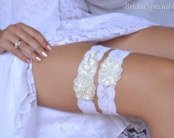 White And Ivory Wedding Garter Set With Handknitted Sequins Pearls