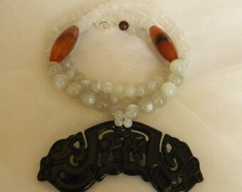 Black jade pendant w moonstone beads necklace w fire agate charms w beaded jewelry , black jade jewelry , jade pendant , Asian jade necklace