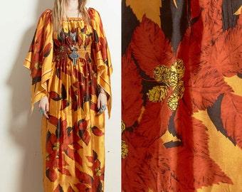 Vintage 60s 70s BOHO hippie empire waist angel handkerchief sleeved CAFTAN maxi DRESS