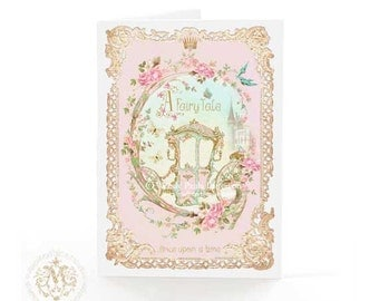 Once upon a time, card, fairy tale castle, Cinderella, carriage, glass slipper, Birthday card, pink, gold, crown, butterlies, roses