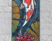 Koi Fish Painting - Koi Fish Wood Burning - Lotus Painting - Lotus Wood Burning