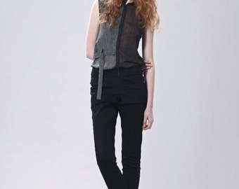 Asymmetric and Sheer Sleeveless Shirt With Stripe Print
