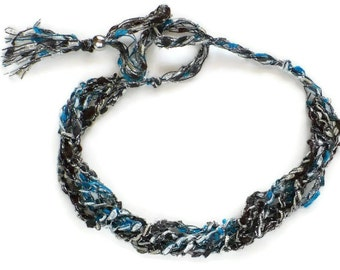 Black & Blue Ladder Yarn Necklace: Crocheted Ribbon Necklace, Fiber Jewelry, Gifts for Her, Handmade Jewelry, Ready to Ship