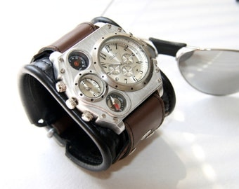 """Mens Wrist Watch Band Black Brown Bracelet """"Aviator"""" Steampunk Watches Gifts for Him Leather Cuff Wrist Watch SALE Worldwide Shipping"""