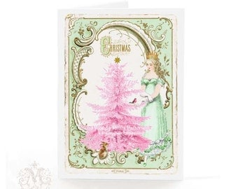 Snow Queen Christmas card with pink Christmas tree, vintage style holiday greeting