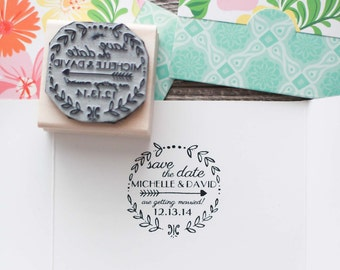Save the Date Rubber Stamp, Wedding Invitation Rubber Stamp, Calligraphy Stamp, Wreath Wedding Invitation Stamp, DIY Wedding Stamp