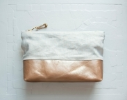 ESSENTIAL Make Up Case.  Linen and Leather Cosmetic Case. Leather Make Up Bag.