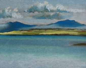 Sea study at Broadford, original seascape pastel drawing