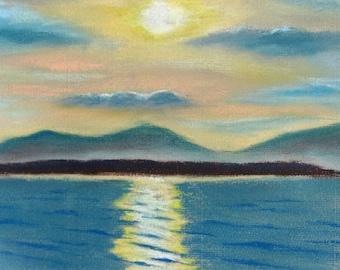 Sunrise over Stromness, original seascape pastel drawing