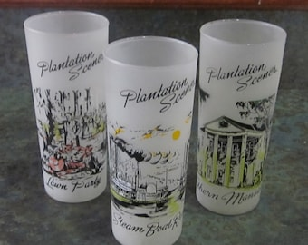 Qty of 3 Plantation Scenes Ice Tea Frosted Glasses