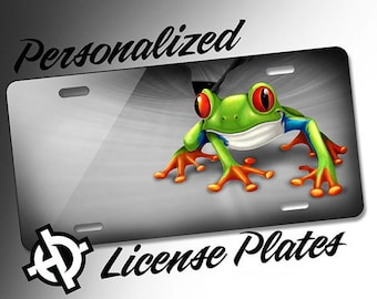 Personalized License Plate -AT1149- Custom License Plate Airbrush License Plate Monogram - Tree Frog License Plate