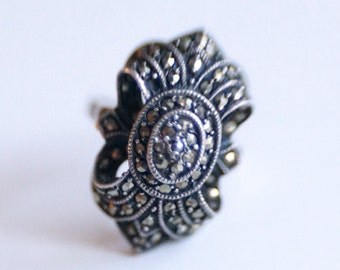 Vintage marcasite pyrite sterling silver Victorian ring size 7