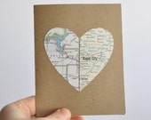 Personalized Valentine's Day Card Long Distance Relationship Map Heart in Two Places