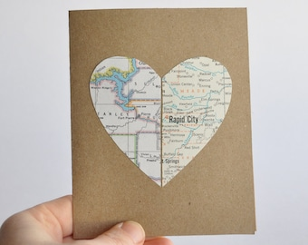 Long Distance Relationship Map Heart in Two Places