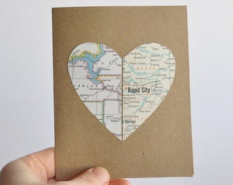 Long Distance Relationship Card Map Card Heart in Two Places