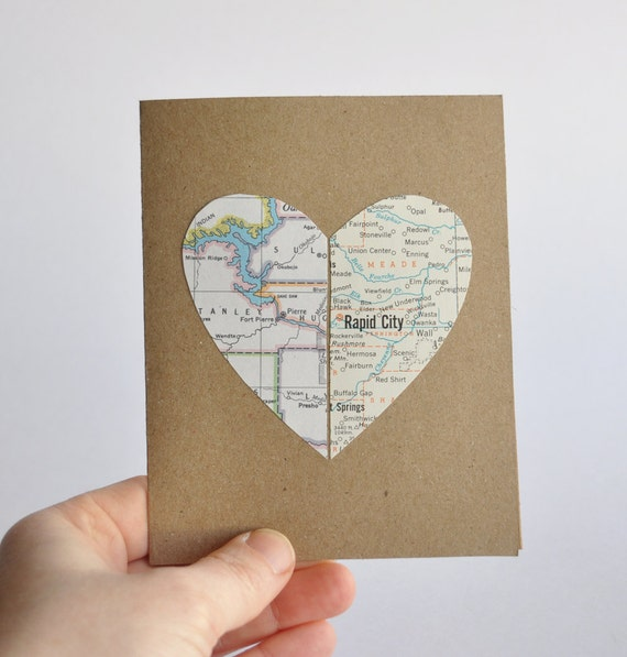 Long Distance Relationship Card Map Heart in Two Places