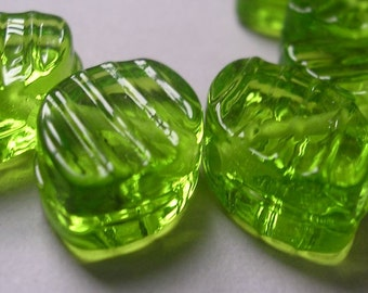 Handmade Lampwork Green Glass Beads Ericabeads Groovy Lime Zulus (6)