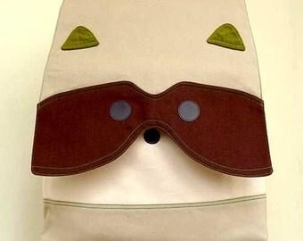 Laptop Backpack, Diaper backpack, Raccoon Backpack, Raccoon bag, Diaper Bag, Laptop Bag, Men's backpack ,Unisex BackPack, BEIGE BROWN Color