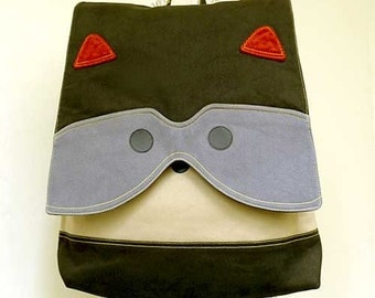 Raccoon Backpack, Fabric Backpack, Vegan Backpack, Unisex Backpack, Diaper Backpack, Laptop Backpack, Raccoon Bag, Olive Green Gray Color