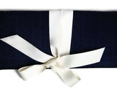 ALEXIS Clutch In Navy Silk with Ivory Bow