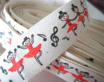 BALLET DANCERS Print Fabric Ribbon Trim