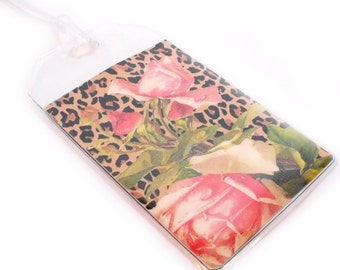 Luggage Tags - set of two - Leopard Print and Pink Victorian Roses - pretty bag tags or luggage markers