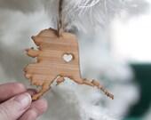 i heart Alaska State Ornament - Bamboo - Alaska Ornament - Wooden State Cutout Ornament AK State Pendant Charm With Heart Christmas Ornament