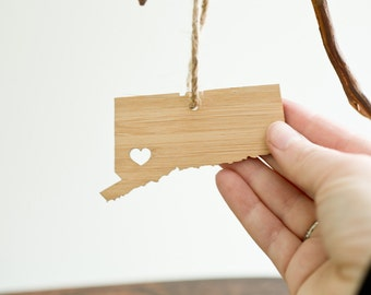 i heart Connecticut Ornament - Bamboo - Connecticut Ornament - State Ornament With Heart CT State Pendant Holiday Gift Ornament Car Mirror