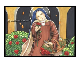 Saint Therese And  Her Garden Signed Art Print -You Choose- 2.5x3.5, 5x7 or 8x10 In., Little Flower Lisieux France Female Icon Catholic Nun