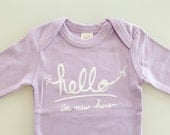 Hello I'm New Here, Funny baby gift, onepiece, baby girl gift, baby shower gift  (0-3 mo - newborn - lilac - long sleeves)