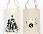Anne Boleyn Organic Cotton Two Bottle Wine, Liquor and Growler Bottle Tote Bag