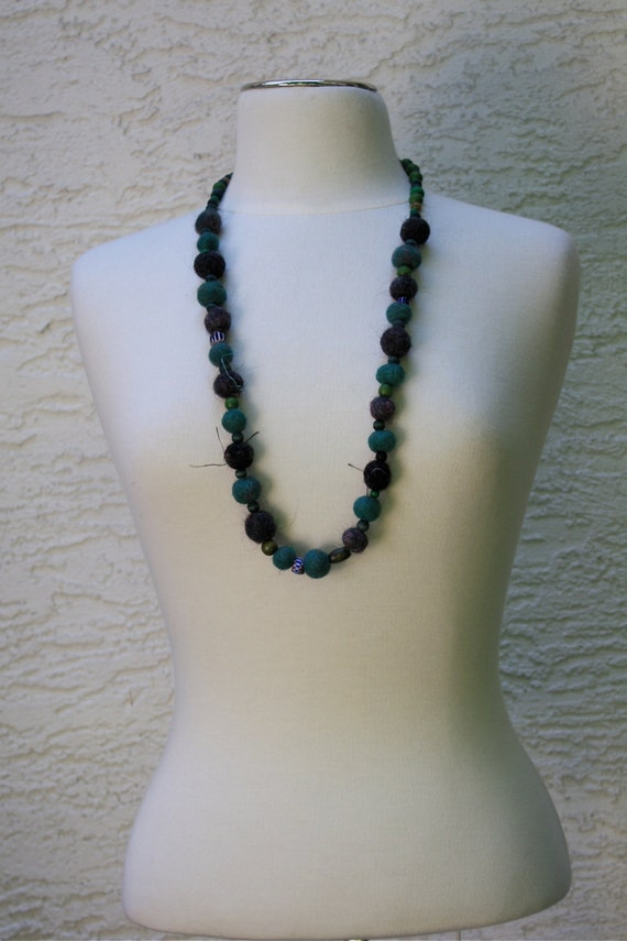Felted by Hand Green Pearl Necklace, long with wooden beads