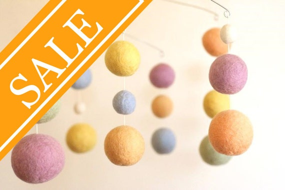 SALE - 20% OFF - Spun Sugar - Eco Friendly - Natural - Felted Wool - Baby Mobile