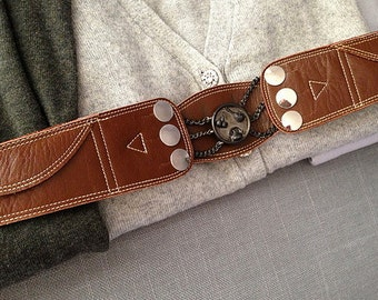 60s Rossi & Caruso Belt Argentine Leather - Vintage Corset Belt - Pockets Argentina - Mate' Charms - Chains - Buckle - Cinch Belt