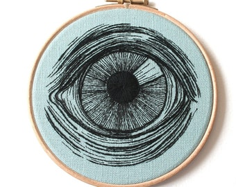 Embroidered Eye Hoop Art Hand Stitched Illustration Wall Plaque To Order.