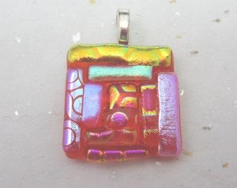Dichroic glass pendant  Quilt pendant dichroic Coral fused glass pendant  jewelry Tangerine orange dichroic pendant gold pink textures