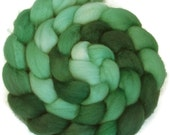 Handpainted BFL Wool Roving - 4 oz. SHADES of Emerald - Spinning Fiber
